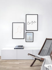 Modern minimalist poster by Opposite Wall with abstract illustration of Into the Distance with beige lines - Gallery wall trio - Living room