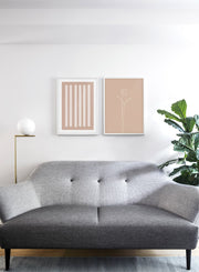 Modern minimalist poster by Opposite Wall with abstract illustration of Tulip in Beige - Gallery wall duo - Living room