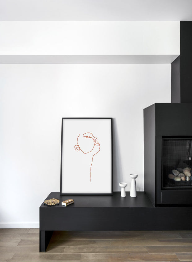Modern minimalist poster by Opposite Wall with abstract illustration of Profile with Beige Lines - Fireplace Living Room