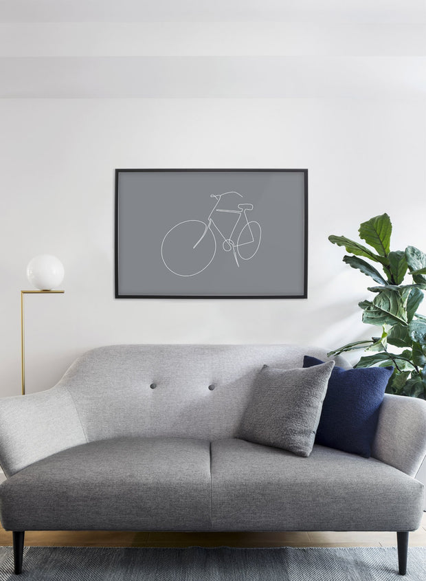 Modern minimalist poster by Opposite Wall with abstract illustration of Fresh Start in Grey -  Living room