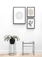 Modern minimalist poster by Opposite Wall with abstract poster of Target in Green - Gallery Wall Trio - Entryway with Plant