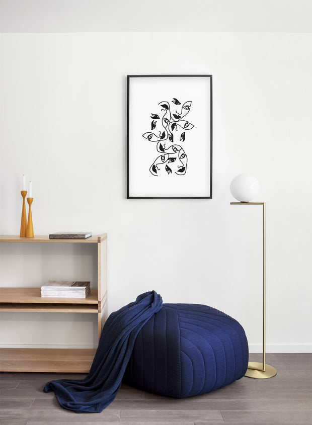 Scandinavian poster by Opposite Wall with abstract line art illustration Ms. Dubious - Single - Living Room