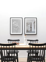 Minimalist wall poster by Opposite Wall of Baby's Breath flower photography in black and white - Duo - Dining Room