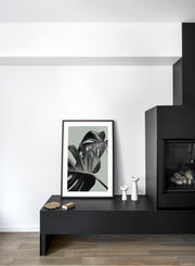Scandinavian poster by Opposite Wall with trendy with Monstera leaf Overlap in Green - Fireplace