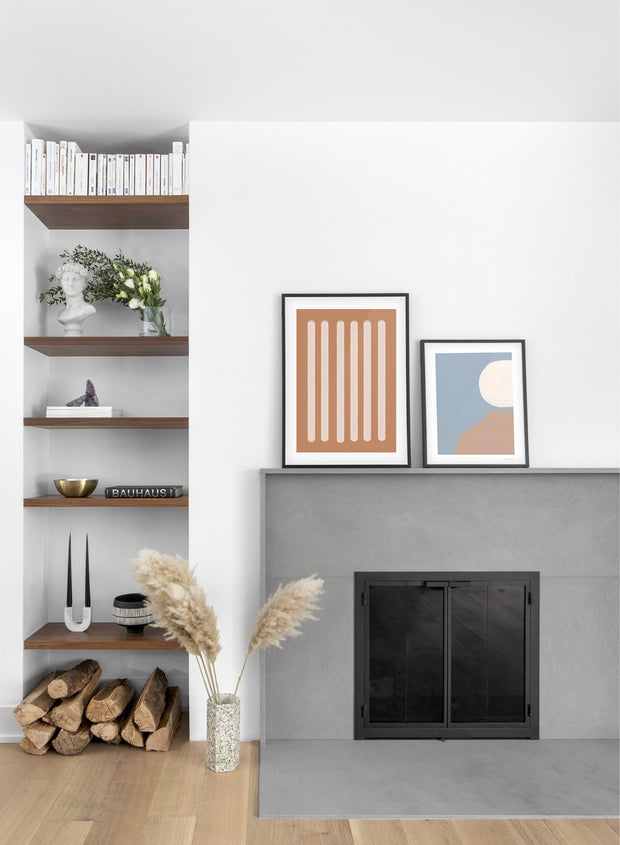 Modern minimalist poster by Opposite Wall with abstract illustration of Two-Toned in Burnt Orange - Gallery wall duo - Fireplace