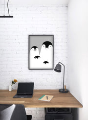 Modern minimalist poster by Opposite Wall with an illustration of a penguin family in black and white - kids collection - office desk