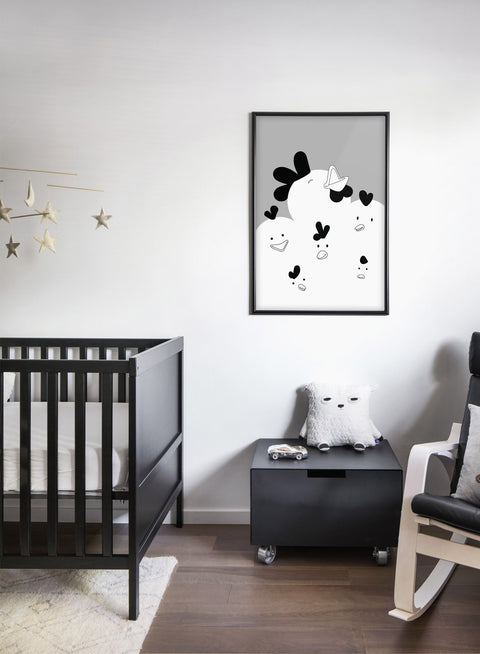 Modern minimalist poster by Opposite Wall with chicken illustration in black and white - kids collection - bedroom
