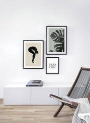 Modern minimalist poster by Opposite Wall with green Monstera still life botanical photography called Wild Ways in Green - Trio - Living Room