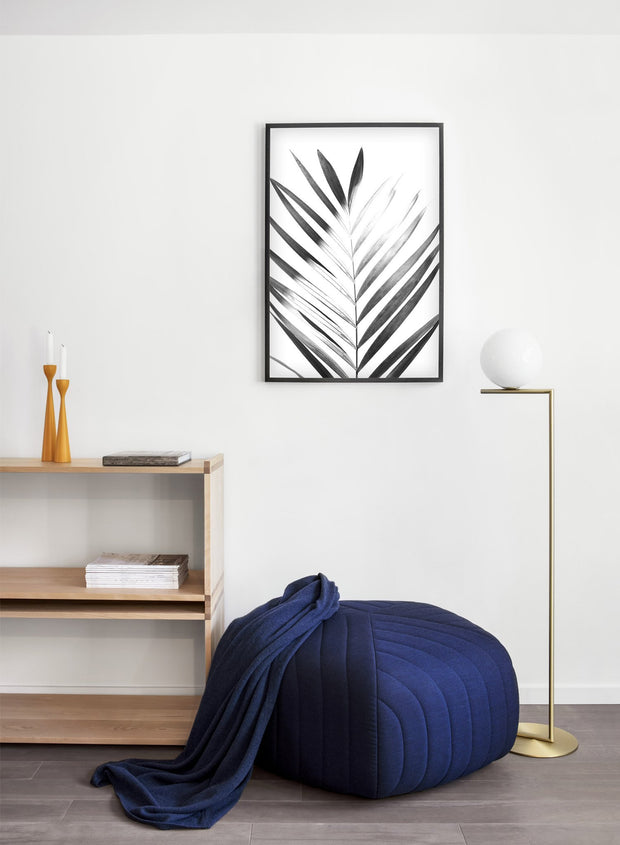 Modern minimalist poster by Opposite Wall with Sunlight palm leaf photo art in black and white - Entryway