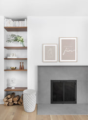 Scandinavian poster by Opposite Wall with graphic typography design of Amour Sans Fin in beige - Fireplace - Duo