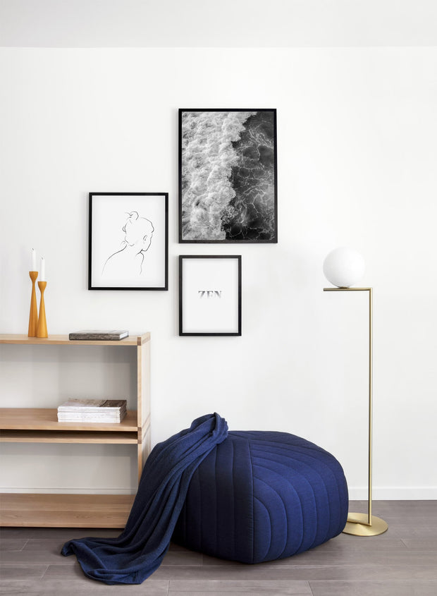 Modern minimalist poster by Opposite Wall with Emerald waters photography in black and white - Living room wall gallery trio