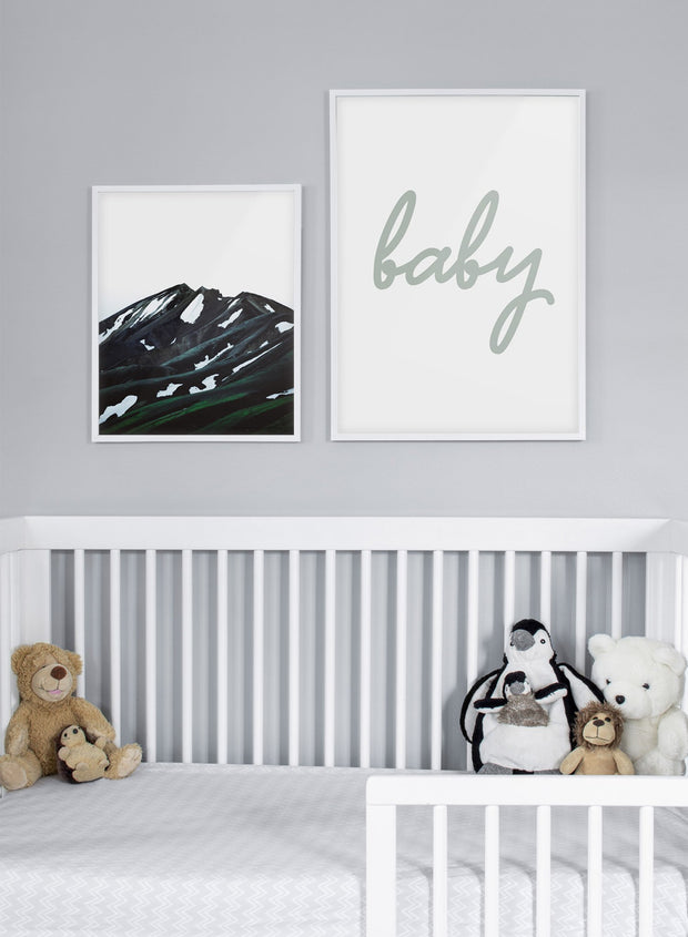 Scandinavian poster with graphic typography design of Baby in green text - Gallery Wall Duo - Baby Room