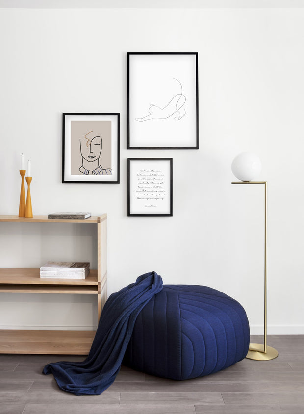 Modern minimalist poster by Opposite Wall with abstract illustration of stretching cat line art - Gallery wall trio - Living Room