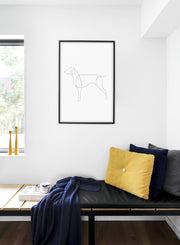 Modern minimalist poster by Opposite Wall with abstract illustration of dog line art - Bedroom