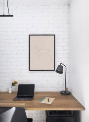 Modern minimalist poster by Opposite Wall with abstract illustration of dog line art with beige background - Office Desk