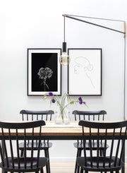 Modern minimalist poster by Opposite Wall with abstract illustration of ballerina bunhead line art - Gallery Wall Duo - Dining Room
