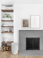 Modern minimalist poster by Opposite Wall with abstract illustration of woman line art two-faced - Gallery Wall duo - Fireplace