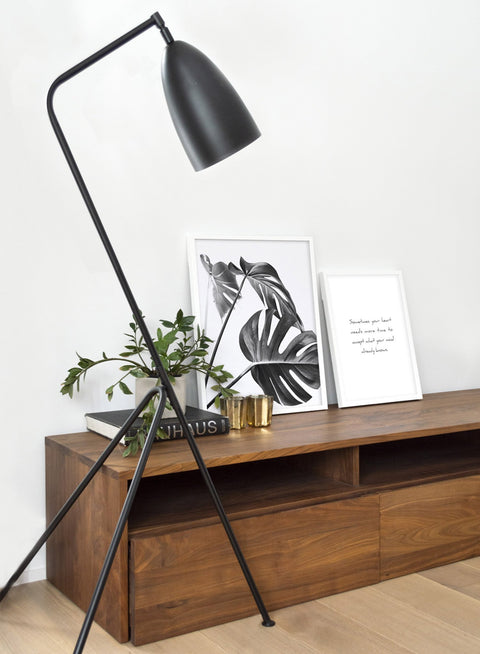 Scandinavian art print by Opposite Wall with Monstera leaf photo Three's a charm in black and white - Poster Duo