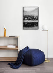 Stunning reflections in Black - Misty lake and mountain modern minimalist photography poster by Opposite Wall - Entryway