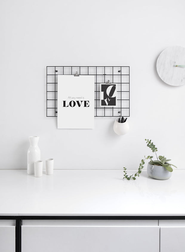 Scandinavian poster by Opposite Wall with black and white graphic typography design of All You Need Is Love text - Office Desk - Duo