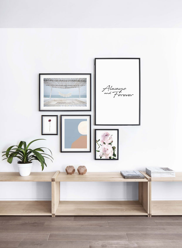 Scandinavian poster by Opposite Wall with black and white graphic typography design of Always and Forever - Entryway - Gallery Wall