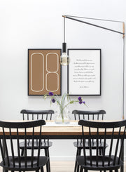 Scandinavian poster by Opposite Wall with orange colour graphic typography design of Analog Eight - Dining room - Duo Gallery