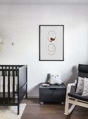 Scandinavian poster by Opposite Wall with grey and brown graphic typography design of Apostrophe & Comma - Kids Room