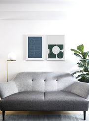 Modern minimalist poster by Opposite Wall with abstract design of Blueprint by Toffie Affichiste - Gallery Wall Duo - Living Room