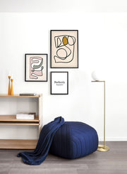 Modern minimalist poster by Opposite Wall with abstract design poster of Contortionist by Toffie Affichiste - Gallery Wall Trio - Entryway