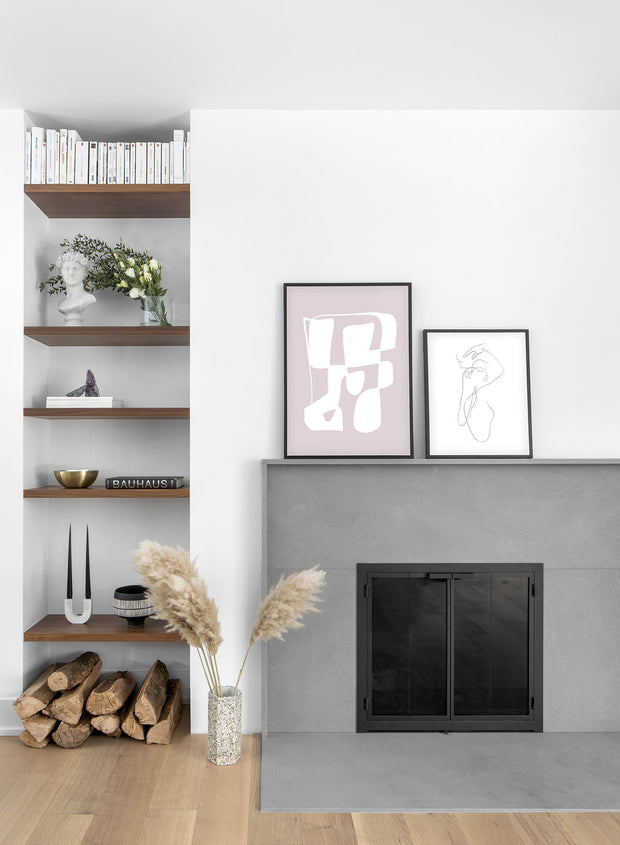 Modern minimalist poster by Opposite Wall with abstract design of Cotton Candy by Toffie Affichiste - Gallery Wall Duo - Living Room Fireplace