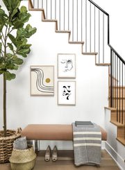 Modern minimalist poster by Opposite Wall with abstract design of Sunshine Road by Toffie Affichiste - Gallery Wall Trio - Entryway