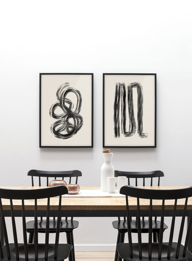 Modern minimalist poster by Opposite Wall with abstract design of Anxious by Toffie Affichiste - Gallery Wall Duo - Dining Room
