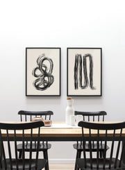 Modern minimalist poster by Opposite Wall with abstract design of Dead Ends by Toffie Affichiste - Gallery Wall Duo - Dining Room