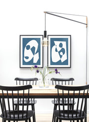 Modern minimalist poster by Opposite Wall with abstract design of Blue Palette by Toffie Affichiste - Gallery Wall Duo - Dining Room