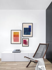 Modern minimalist poster by Opposite Wall with abstract design of Trapped by Toffie Affichiste - Gallery Wall Trio - Living Room