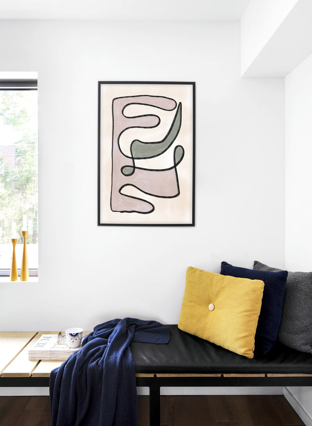 Modern minimalist poster by Opposite Wall with abstract design of Plumage by Toffie Affichiste - Bedroom