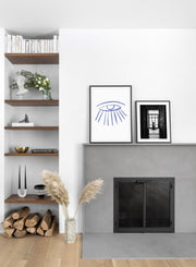 Modern minimalist poster by Opposite Wall with abstract design of The Upside Down by Toffie Affichiste - Gallery Wall Duo - Living Room Fireplace