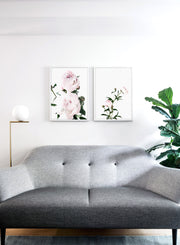 Scandinavian poster by Opposite Wall with trendy art photo of peonies - Romance - Living room with a sofa