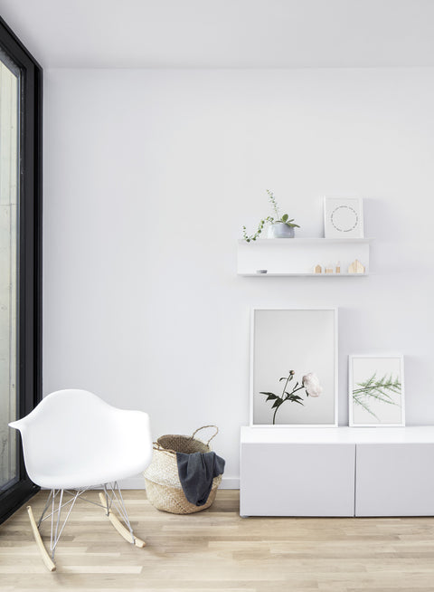 Scandinavian poster by Opposite Wall with trendy Gentle on Eyes fern branch photography - Living room with a chair