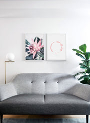 Modern minimalist poster by Opposite Wall with trendy Desert cactus flower photography - Living room with a couch