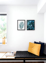 Scandinavian poster by Opposite Wall with trendy Fancy Foliage fig-tree photography - Living room pouf