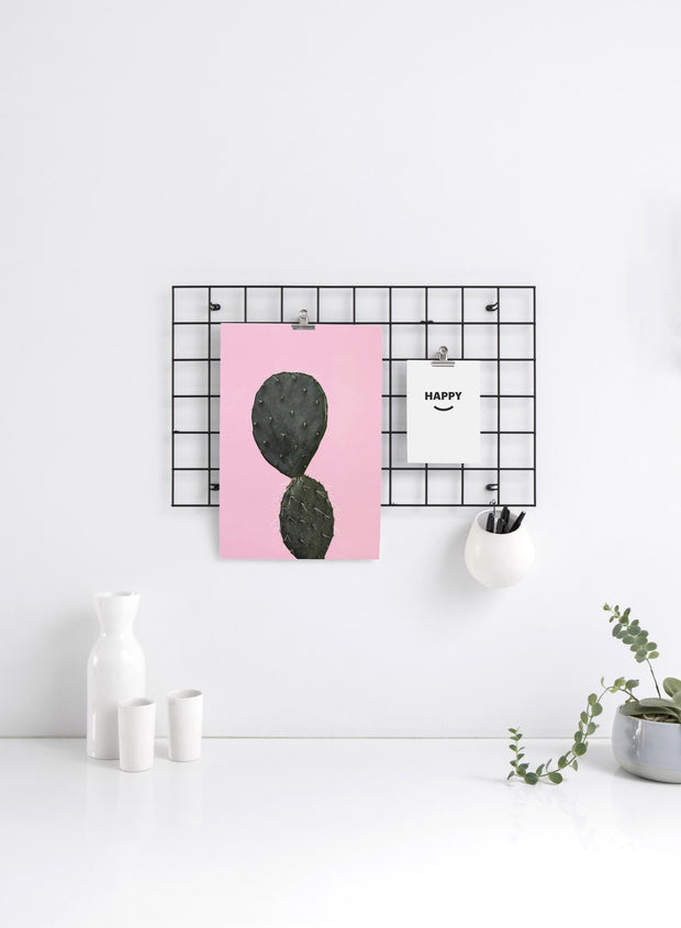 Modern minimalist poster by Opposite Wall with trendy Hello Cactus art photo on pink background - Kitchen