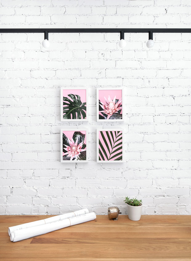 Scandinavian poster by Opposite Wall with trendy art photography of palm leaf on pink - Pretty in Pink - Personal office