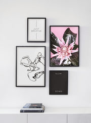 Scandinavian poster by Opposite Wall with Modern minimalist poster by Opposite Wall with Cactus Flower photo - Living room close-up bookshelf