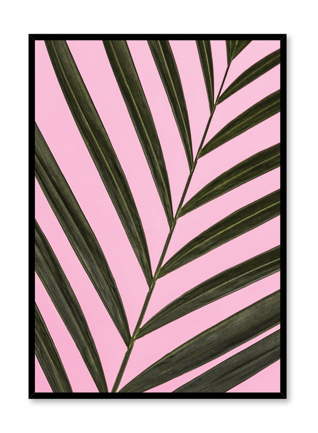 Minimalist art print by Opposite Wall with trendy art photography of palm leaf on pink - Pretty in Pink