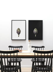 minimalist poster by Opposite Wall with Globe on Black artichoke photography - Dining room