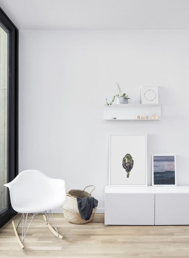 Scandinavian art print by Opposite Wall with Globe on white artichoke photography - Living room with a chair