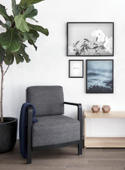Modern minimalist art print by Opposite Wall with wave White Water blue photography - Living room wall with a cozy chair