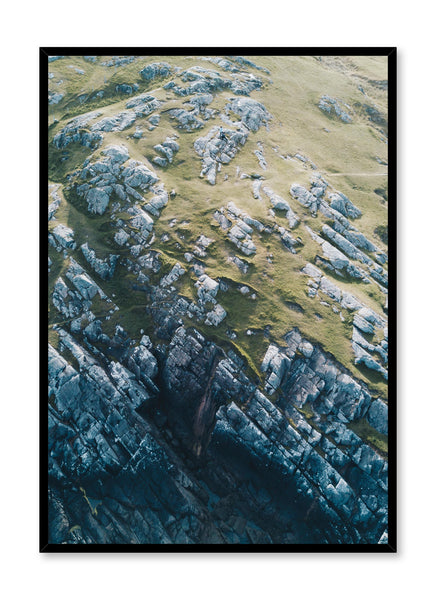 Minimalist art print by Opposite Wall with Scottish rocky cliffs aerial art photography