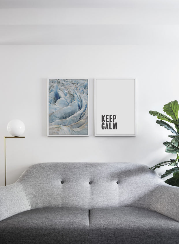 Scandinavian poster by Opposite Wall with cool Glacier photography - Living room with a couch